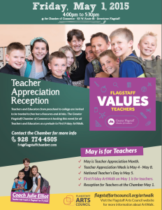 May 1 — First Friday Art Walk to include 'Teacher Appreciation Reception' at Flagstaff Chamber of Commerce