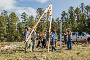 Flagstaff High School students set up a weather monitoring station. Photo courtesy of Michael Remke / SEGA Project