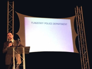 Flagstaff Police Department Chief Kevin Treadway presents information at the community meeting on school safety at Flagstaff High School on April 21, 2015. Photo by Frank X. Moraga