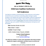 Yavapai Child Care Coalition Fall Conference to be held Oct. 3 at Yavapai College, Prescott
