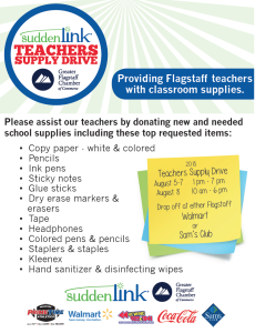 Volunteers needed for Suddenlink's : Chamber's 'Flagstaff Teachers Supply Drive' Aug. 5 through 8