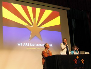 "Superintendent Diane Douglas addresses the audience during her previous ""We are Listening Tour"" on June 13 in Flagstaff."