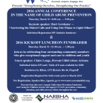 Reminder: 2016 Annual Child Abuse Prevention Kickoff Luncheon & Educational Conference to be held March 31