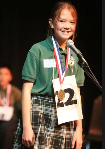 Katrina Vollmer, 12, a sixth-grade student at San Francisco de Asis Catholic School, won the Coconino County Spelling Bee held Feb. 5. Photo by Taylor Mahoney — Arizona Daily Sun