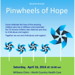 Williams Child Abuse Prevention Council invites the community to 'Pinwheels of Hope Celebration' on April 16