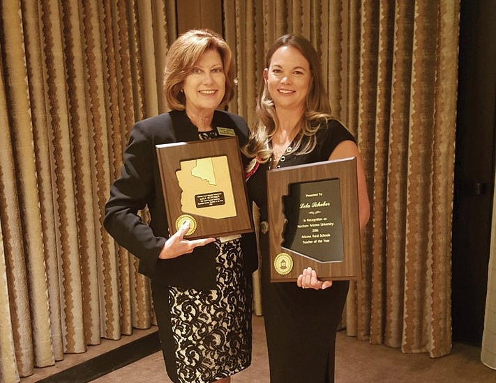 Lela Schober, of Williams-Elementary Middle School, accepts her award as the 2016 Arizona Rural Teacher of the Year. Courtesy photo.