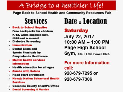 Vendors sought for July 22nd Page Back-to-School and Community Health & Wellness Fair