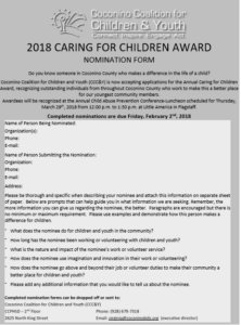 Deadline approaching for CCC&Y Caring for Children Award nominations