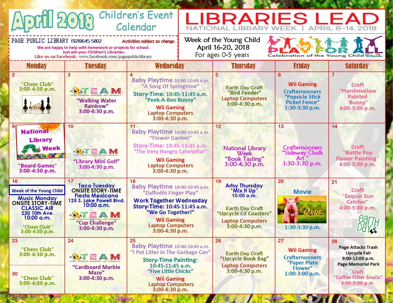 Page Public Library Children S Event Calendar Children Youth