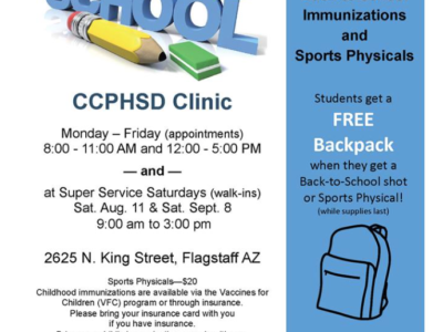 Flagstaff: Free backpacks with back-to-school shots and sports physicals. See related back-to-school news here