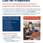 NAU seeking presenters (deadline is May 1) for conference this summer on culturally responsive practices in Indigenous early childhood education