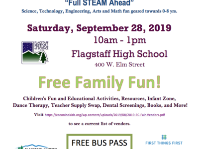 Space still available for vendors to participate in CCC&Y's 9th Annual Flagstaff Early Childhood Fair on Sept. 28