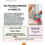 Jan. 10 — Arizona's Children Association presents 'Foster Care & Adoption Tax Tip Zoom Seminar'