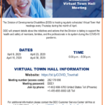 Bilingual update: Division of Developmental Disabilities to hold Virtual Town Hall Meeting April 16, 23, 30