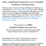 Free Healthcare Professionals Support Sessions to be held via Zoom Tuesdays and Fridays