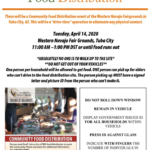 Western Navajo Agency Food Distribution to be held April 14 at Western Navajo Fair Grounds, Tuba City