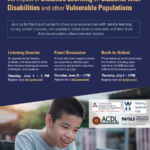Bilingual update — Conversations with Arizona Families about the Impact of Distance Learning on Students with Disabilities and other Vulnerable Populations to be held June 4, 25; July 2