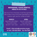 April 7, 8, 10 — Stronger As One Coalition mental health focus group for youth 18-24