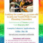 LGBTQ+ Youth Opportunity — seeking youth 12-24 to join Youth Pride Event Planning Committee